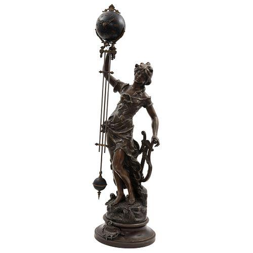 DESPUÉS DE LOUIS Y FRANÇOIS MOREAU (FRANCIA, 1855 - 1919), MUSA POÉTICA, Antimony sculpture and clock.
