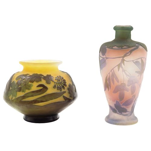 EMILE GALLÉ. France, 19th-20th century, Vase and Perfume Bottle, ART NOUVEAU style cameo crystal, Signed