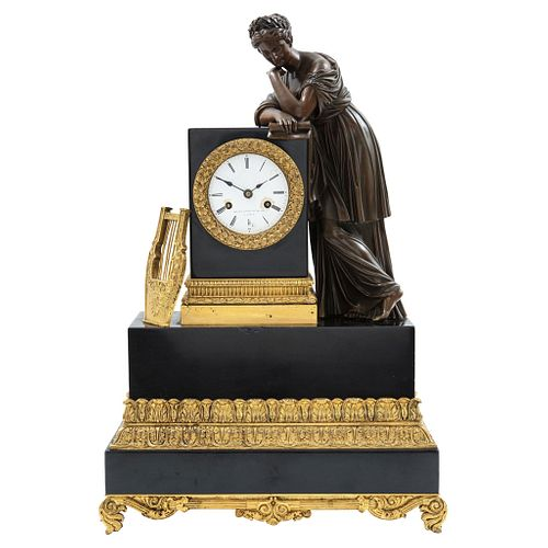 Chimney Clock, France, 19th century, LE ROY ET FILS, Carved and ebonized wood with gilded applications and bronze sculpture.