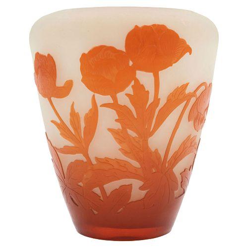 EMILE GALLÉ, France, 19th-20th century, Vase, ART NOUVEAU style cameo crystal. Signed.