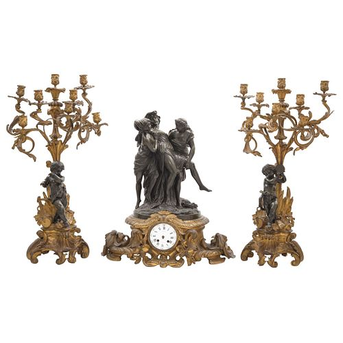 CLAUDE MICHEL, France, 18th century, Decoration, In bronze and gilt details representing a Bacchant supported by Bacchus and a faun.