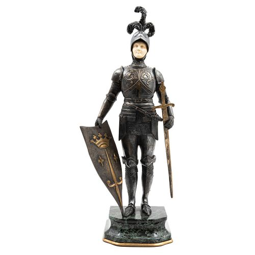Chryselephantine Knight with Armor, 19th century, Ivory carving with patinated bronze casting.
