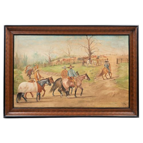 ERNESTO ICAZA, Mexico, Early 20th century, CHARROS A CABALLO, Oil on canvas. Signed and dated.