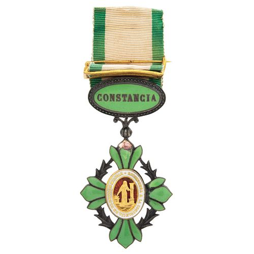 Military Condecoration for Constance, Mexico, 1841, Enamelled metal with golden details