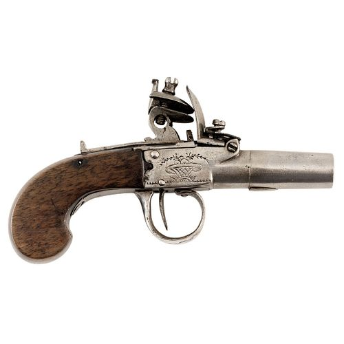 Pocket Pistol, Belgium, 19th century, Made of iron with wooden handles, muzzleloader and flint system