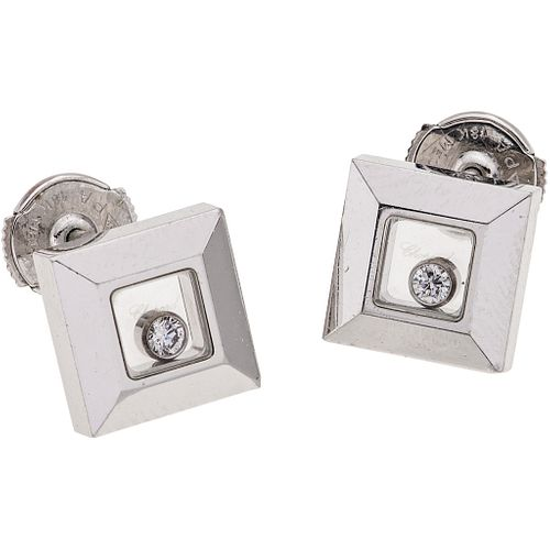 DIAMONDS STUD EARRINGS. 18K WHITE GOLD. CHOPARD  HAPPY DIAMONDS COLLECTION