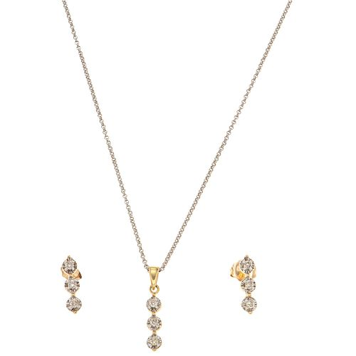 CHOKER, PENDANT AND EARRINGS SET WITH DIAMONDS . 14K WHITE AND YELLOW GOLD