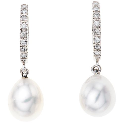 CULTURED PEARLS AND DIAMONDS EARRINGS. 14 GOLD WHITE