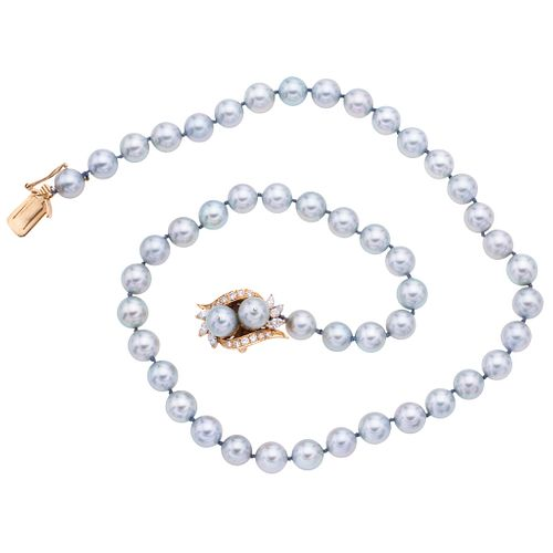 CULTURED PEARLS CHOKER. 14K YELLOW GOLD CLASP WITH DIAMONDS AND CULTURED PEARLS