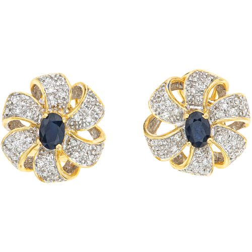 SAPPHIRES AND DIAMONDS EARRINGS. 14K YELLOW GOLD