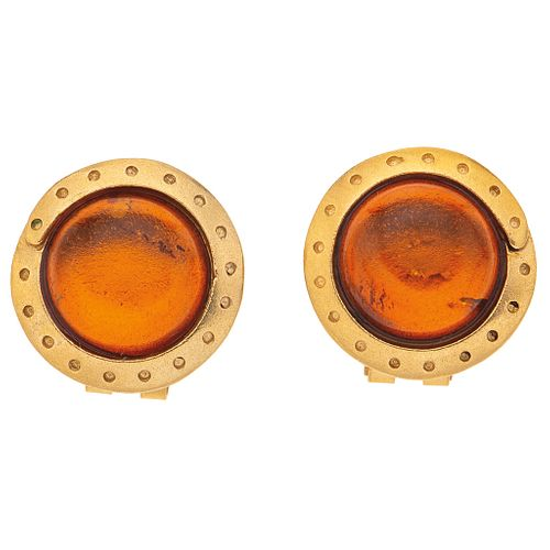 AMBER EARRINGS. 18K YELLOW GOLD. EUGENIA BY TOUS
