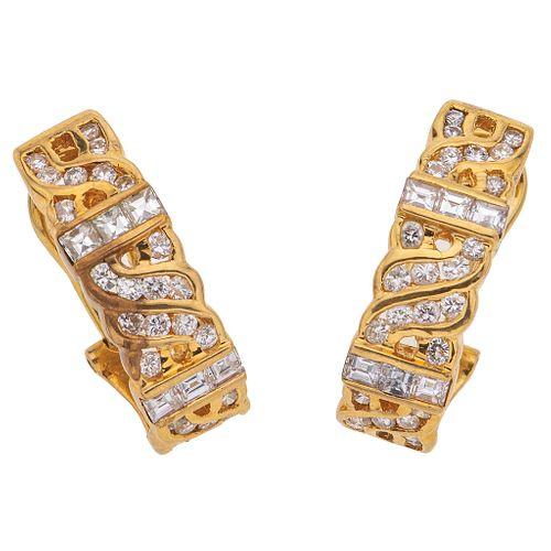 DIAMONDS EARRINGS. 18K YELLOW GOLD