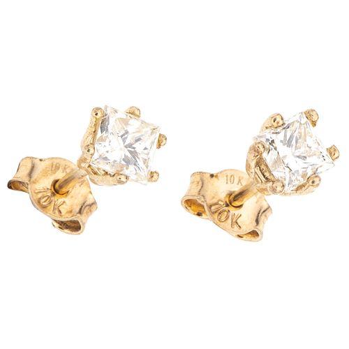 DIAMONDS STUD EARRINGS. 10K YELLOW GOLD