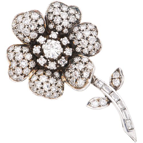 DIAMONDS BROOCH. PALADIUM SILVER