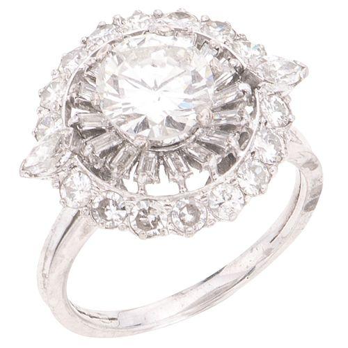 DIAMONDS RING. PALADIUM SILVER