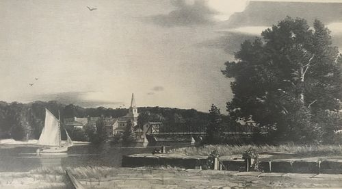 Stow Wengenroth Lithograph, River Scene, 1943