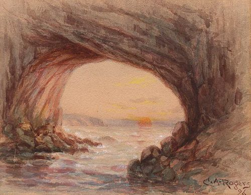 Charles Albert Rogers Watercolor Arched Rock, San
