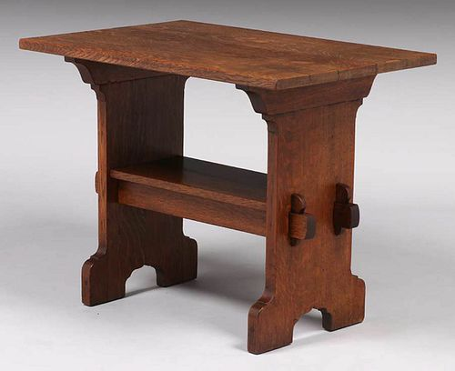 """Early Gustav Stickley """"Bungalow"""" Trestle Table c1900"""