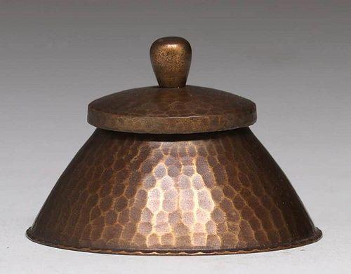 Roycroft Hammered Copper Round Inkwell c1920s