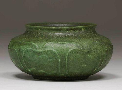 Grueby Pottery Matte Green Raised Leaves Squat Vase