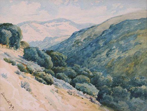 Marius A. Schmidt Watercolor Marin Hills c1920s