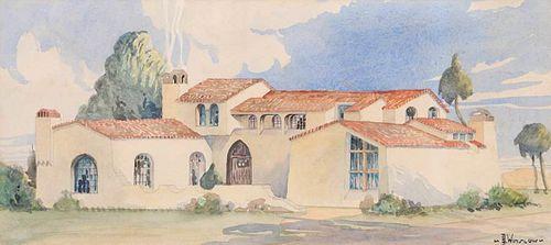 B. Winslow Watercolor Spanish Adobe c1920s