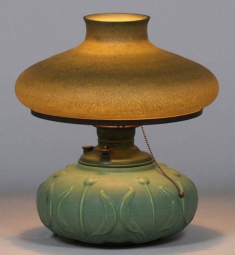 Hampshire Pottery Matte Green Lamp Handel Shade c1910