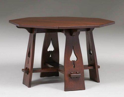 Limbert Spade Cutout Octagonal Table c1910