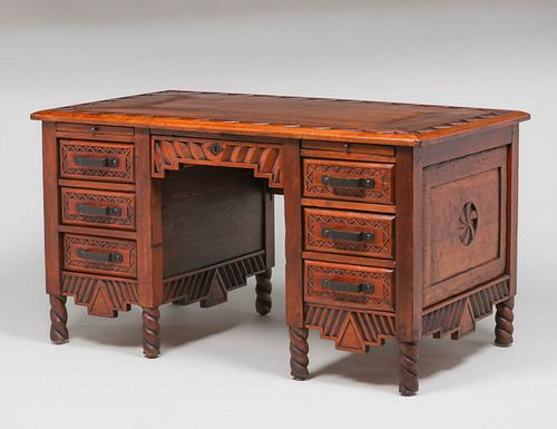 Navajo WPA Hand-Carved New Mexican Desk c1930s