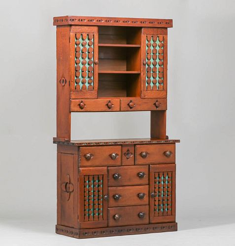 Navajo WPA Hand-Carved New Mexican Hutch c1930s