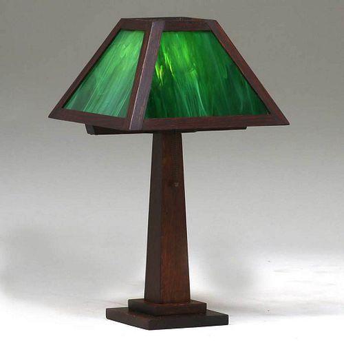 W.B. Brown Oak & Slag Glass Lamp c1910