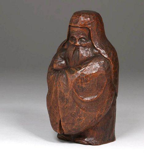Japanese Hand-Carved Oak Daruma c1900