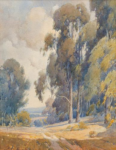 Large Percy Gray Watercolor Eucalyptus Path c1910s