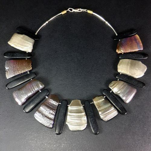 Black onyx, Sea Shells Necklace
