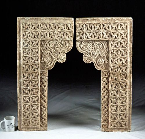 12th C. Medieval Islamic Carved Stucco Window Lintels
