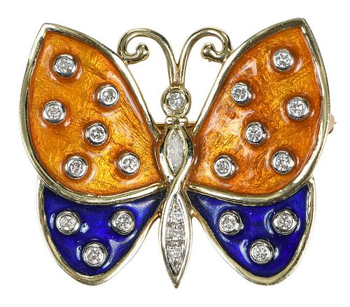 14kt. Diamond Butterfly Brooch