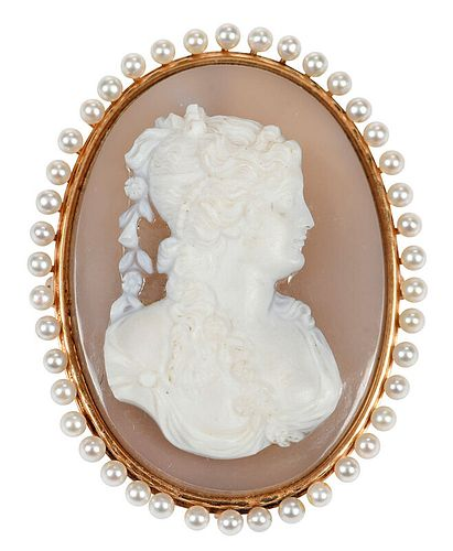 Antique Gold Cameo and Pearl Brooch
