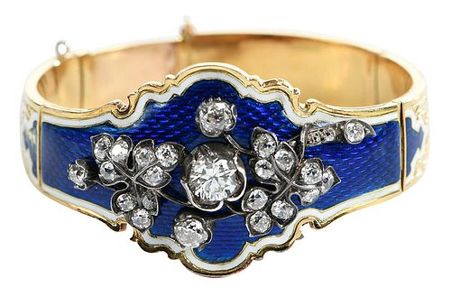 Antique 18kt. Diamond and Enamel Bracelet