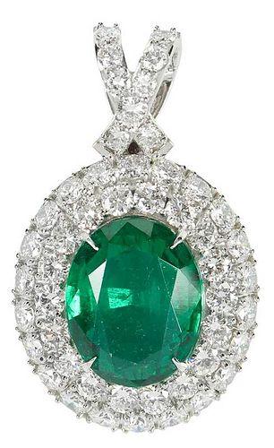 Platinum, Emerald and Diamond Pendant