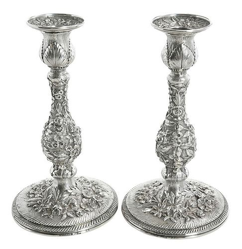 Pair Sterling Repousse Candlesticks