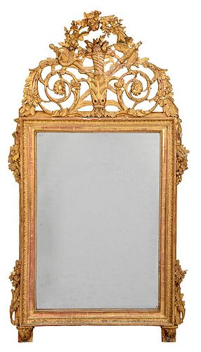 Italian Louis XVI Carved and Giltwood Mirror