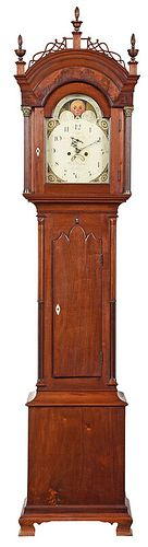 Channel Islands Georgian Mahogany Tall Case Clock