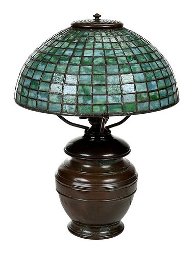 Tiffany Studios Lamp with Geometric Glass Shade