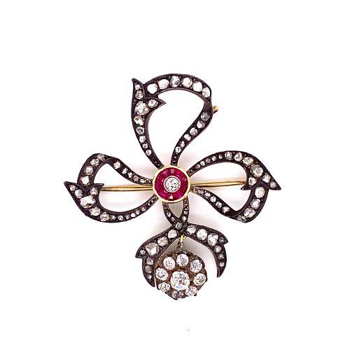 Low Gold Victorian Target Diamond Pendant BroochÊ