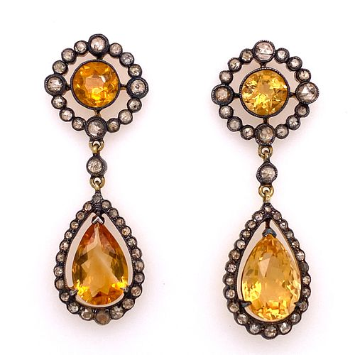 Silver Gold Diamond Citrine Earrings