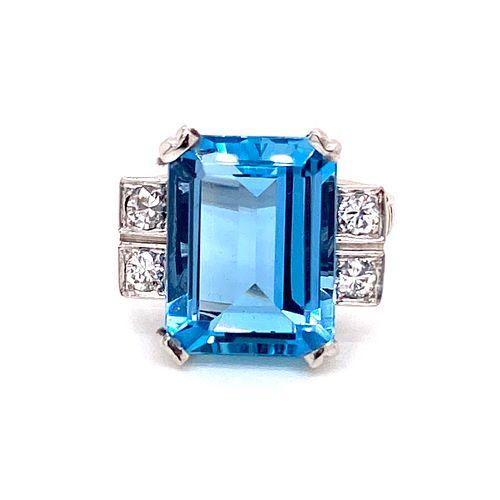 Art Deco Platinum Diamond Aqua Ring