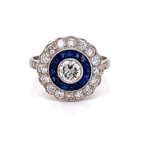 Platinum Diamond Sapphire RingÊ