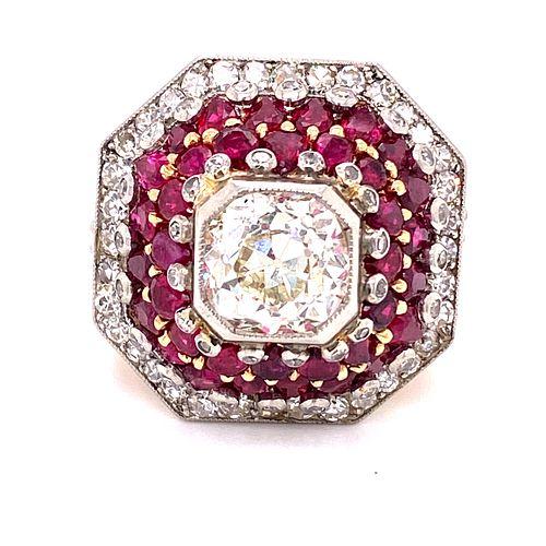 Art Deco 18k Ruby Diamond RingÊ