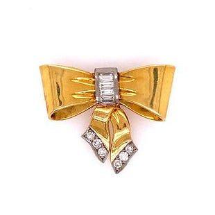18k Gold Diamonds Retro Bow Pendant