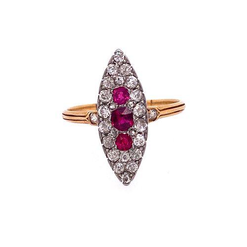 Victorian 18k Gold Ruby Diamonds Ring